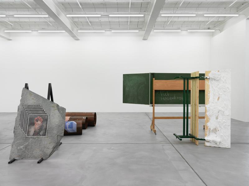 Installation view, Matias Faldbakken,Thingumbob Screens Overlaps, Galerie Eva Presenhuber