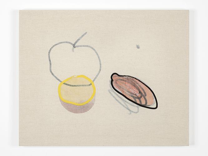 Riccardo Baruffi, Pesca e pomodoro con natura morta rovesciata (Peach and tomato with reversed still life), 2016