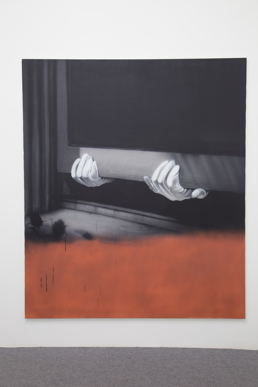 Sayre Gomez,  Thief Painting in Black and White and Red Oxide , 2015