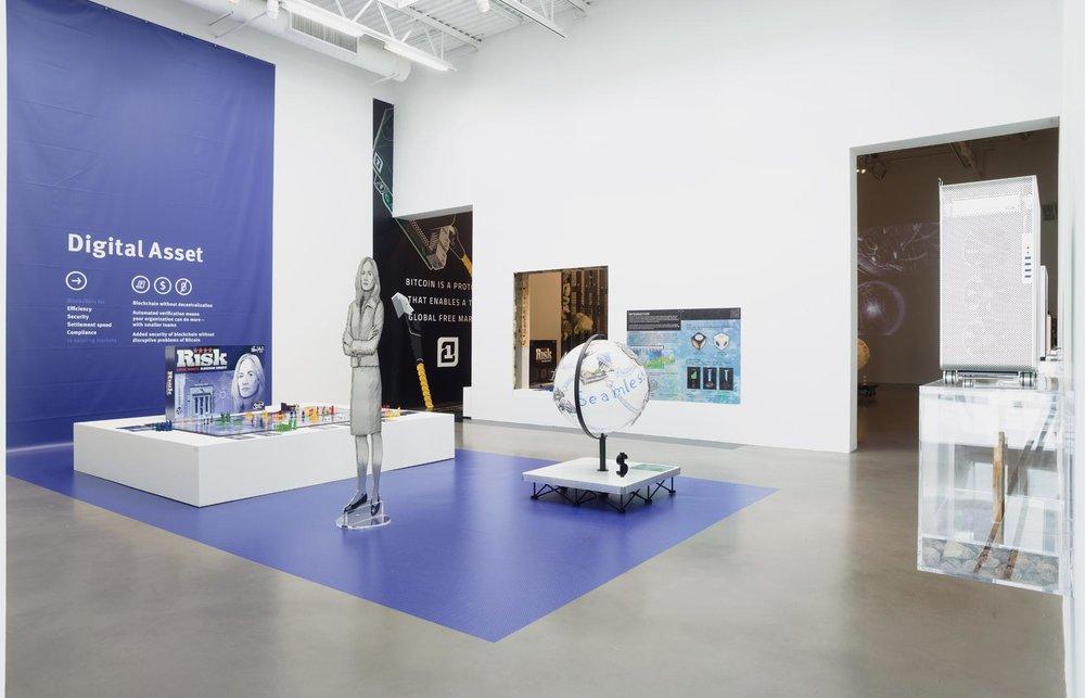 Installation view, Simon Denny, Blockchain Future States , Petzel Gallery