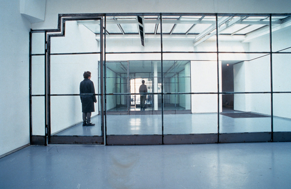 Exhibition view of « Les devantures de la rue Saint-Gilles » by Veit Stratmann, Valentin, Paris, 2000  courtesy of the artist and Valentin gallery, Paris