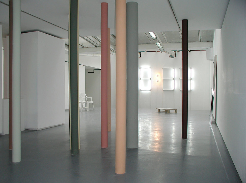 Exhibition view of Mathieu Mercier, Valentin, Paris, 2001  courtesy of the artist and Valentin gallery, Paris