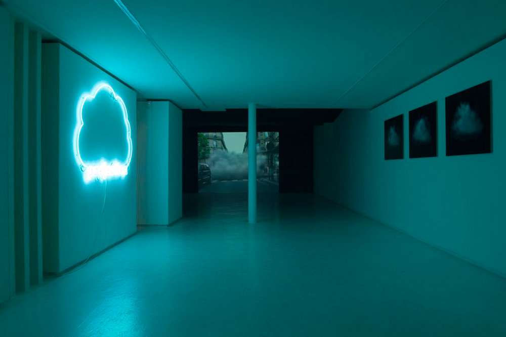 Exhibition view of « Projection » by Laurent Grasso, Valentin, Paris, 2005  courtesy of the artist and Valentin gallery, Paris
