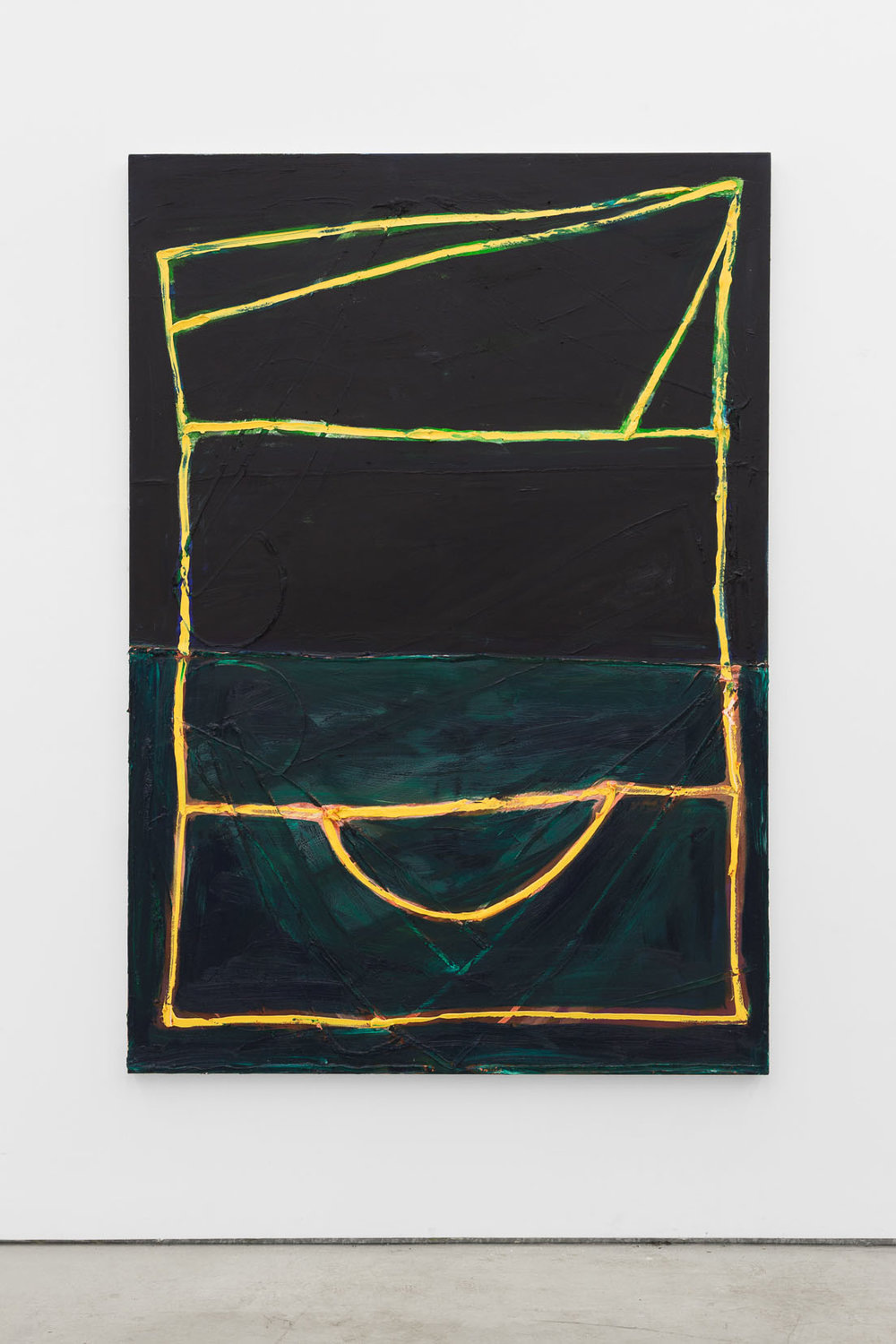 Max Ruf, Untitled (phthalo green and black, around yellow lines), 2016