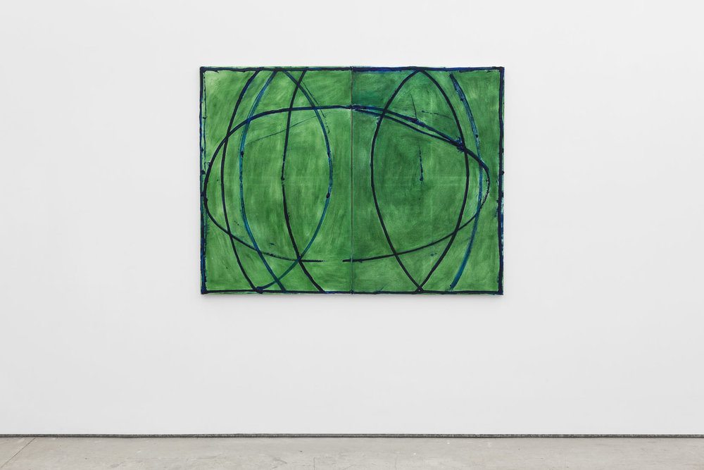 Max Ruf, Untitled (prussian blue lines, transparent green), 2016