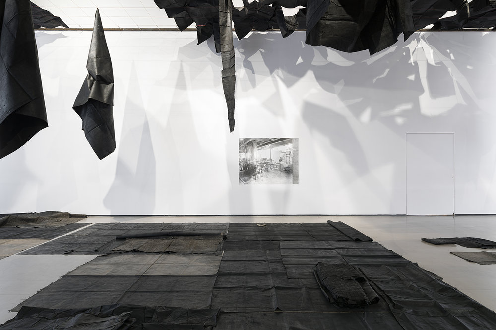 Installation view, Oscar Murillo, Dis Place, YARAT Contemporary Art Centre