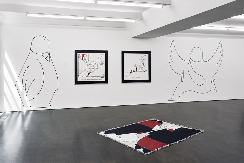 Installation view, Amalia Ulman, Monday Cartoons, Deborah Schamoni