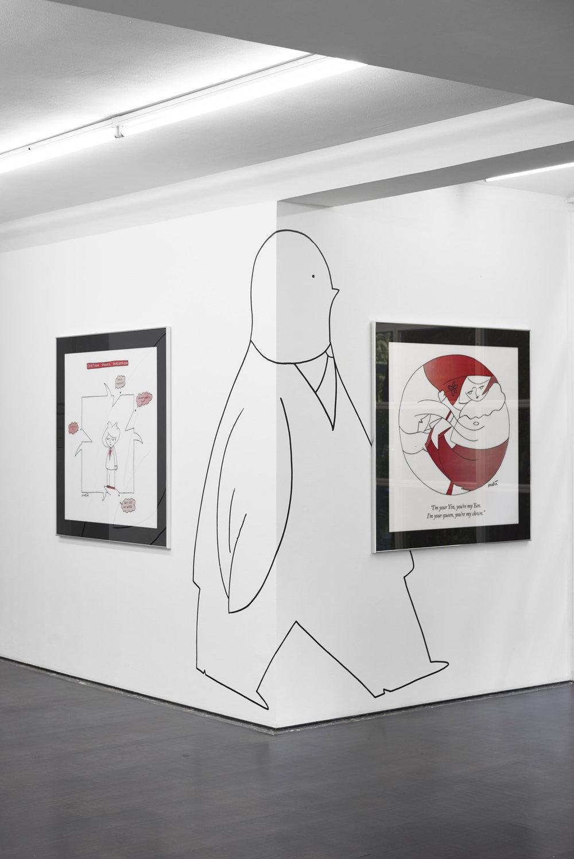 Installation view, Amalia Ulman, Monday Cartoons, Deborah Schamoni