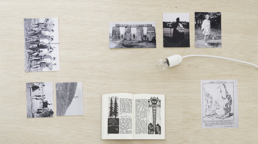 Invocation . Installation view. The Kindred of the Kibbo Kift, Archival materials featuring: photographs, documents and books; and Gina Folly,  Other Life , 2017. Courtesy of the artist and fluent. Image: Gerardo Vela.