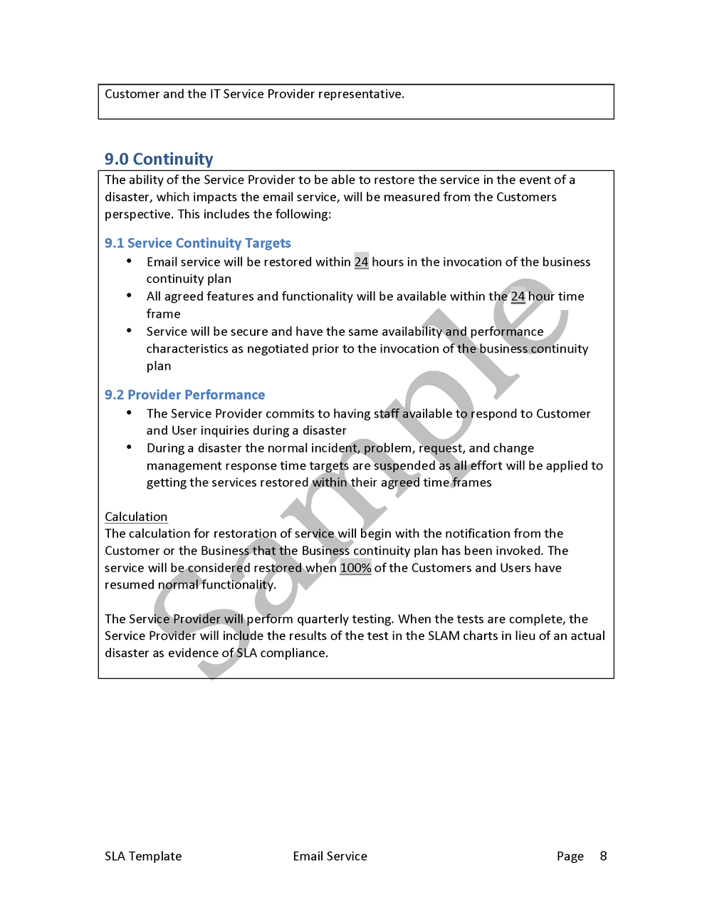 Service Level Agreement Template — Edge IT Training And