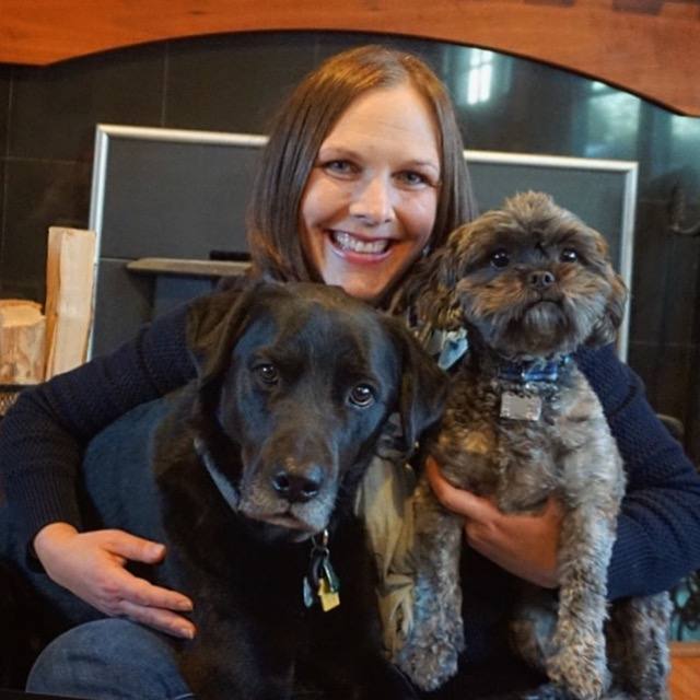 Christie with her beloved dogs, Dexter and Reggie.