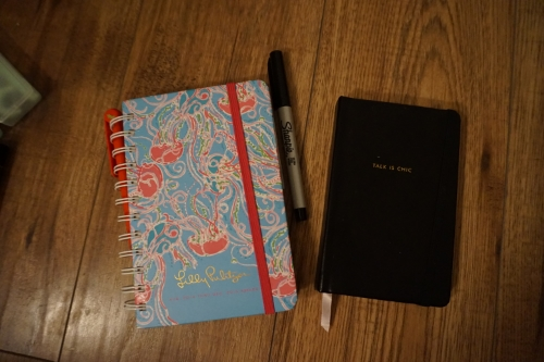 Lilly Pulitzer 2015 planner, Sharpie pen & my small black notebook for jotting down ideas & so I don't forget things while I'm out!