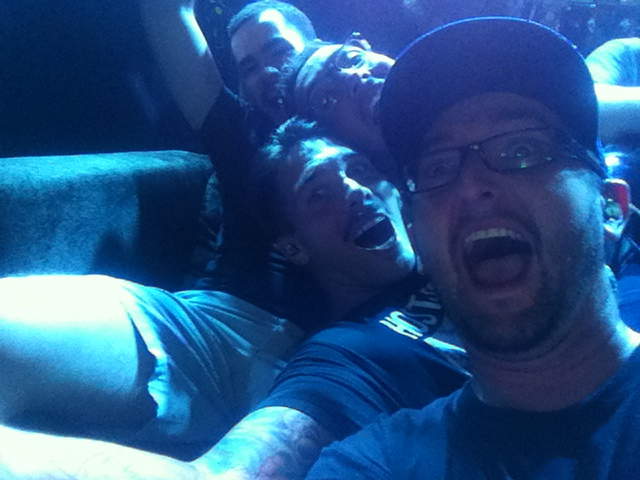 Photo sent from Kevin of the guys goofing around on a couch they took on stage (after I went to bed of course!).