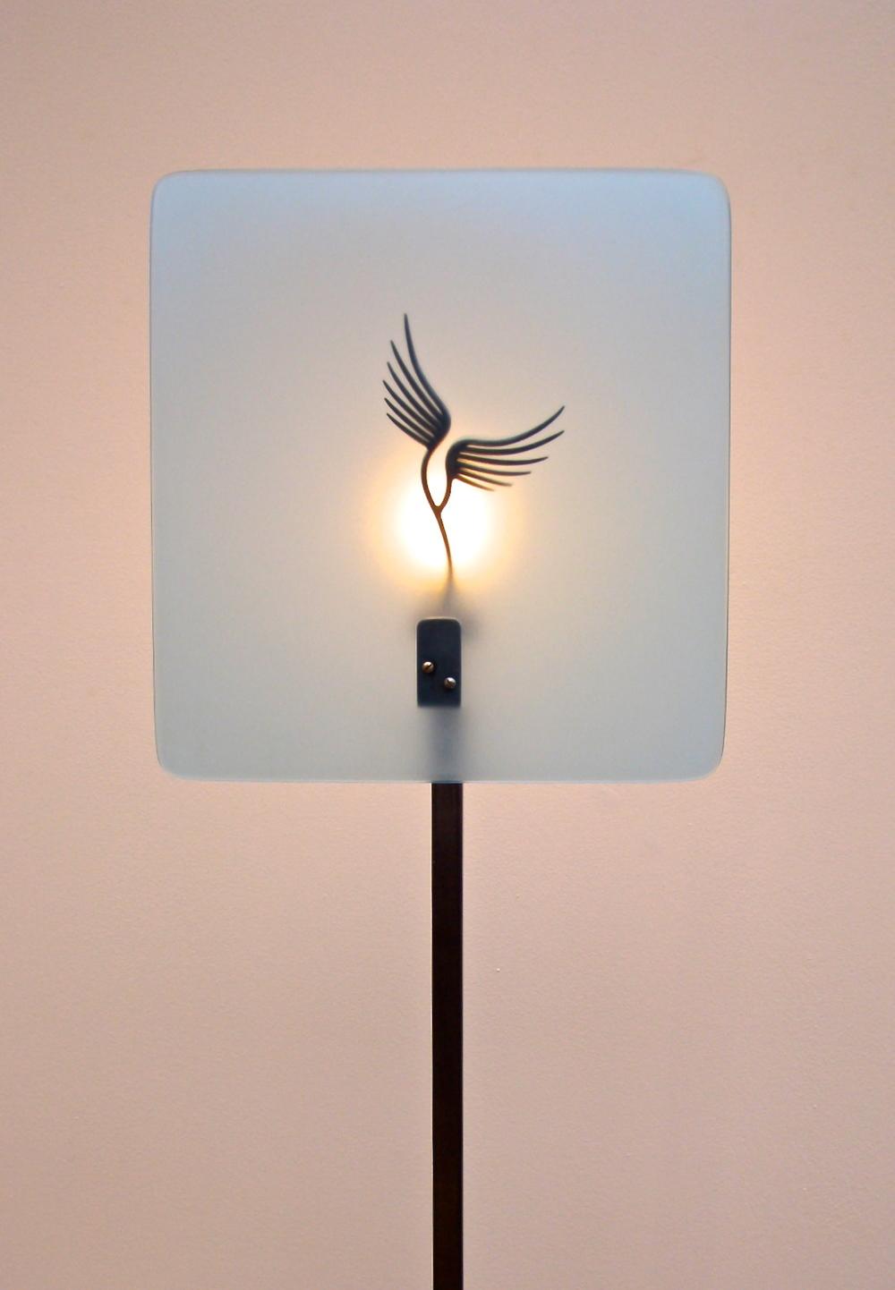 Winged Standard Lamp (Metal and Perspex)