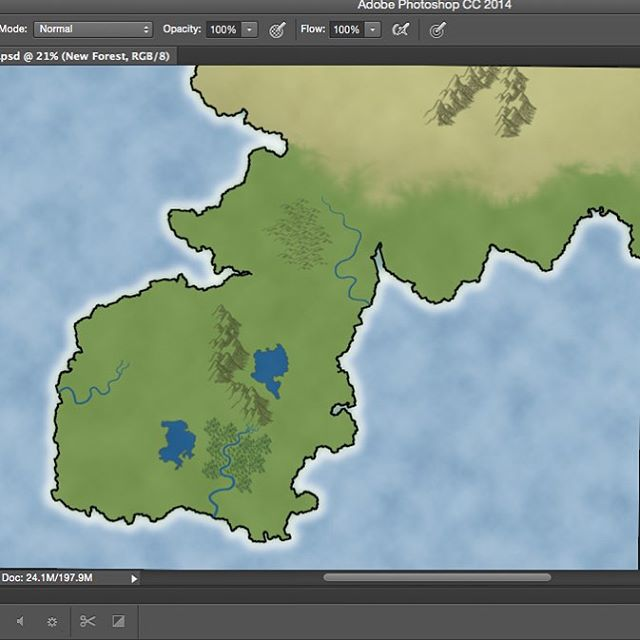 Working on an over world map for our next email freebies. Starting to look nice! #RPG #Fantasy #map #fantasymap #Photoshop