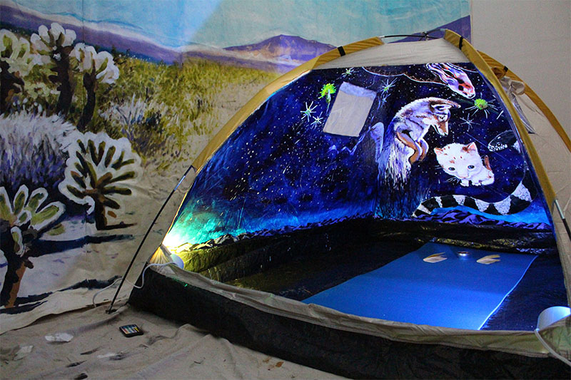 StoryHut  . 2014. Acrylic on modified camping tent, sound and mixed media. 4.5' x 6' x 4'