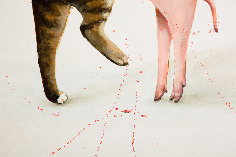 "The Cat & The Piglet . Detail. 2009. Oil on panel. 30"" x 36"""