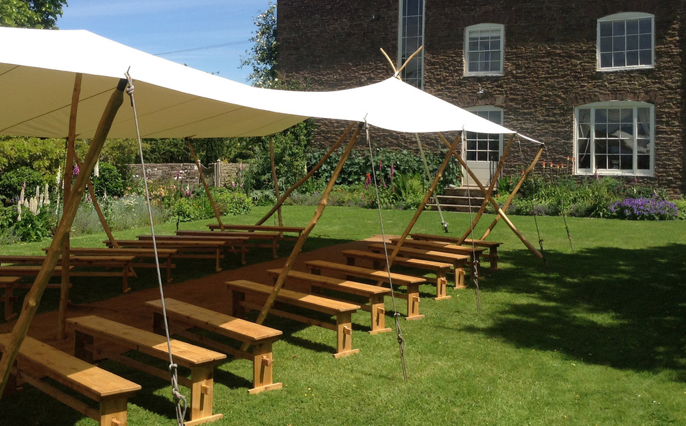 Beautiful white or green open-sided canopy with roundwood coppiced poles. Perfect for outdoor wedding ceremonies and garden parties. & Hire List u2014 Morgan Allen - Whole Wood Designs