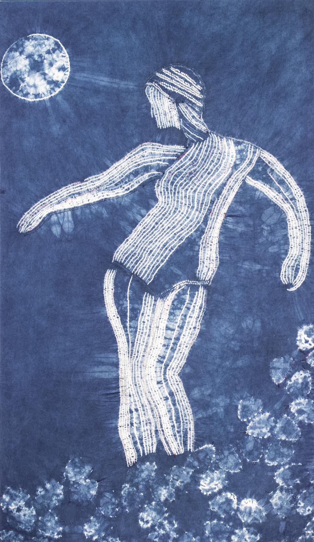 """Diana's Dance"" shibori and indigo dye on cotton  Photo Credit: JC Johnson"