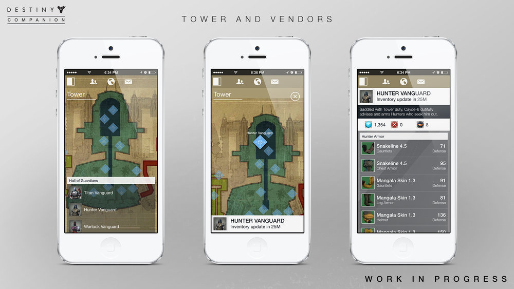 iOS Tower / Vendor Screens - Nearly 1 to 1 with the game in design and functionality... minus walking around of course.