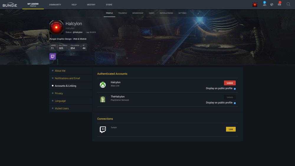Profile with Twitch linking slat.