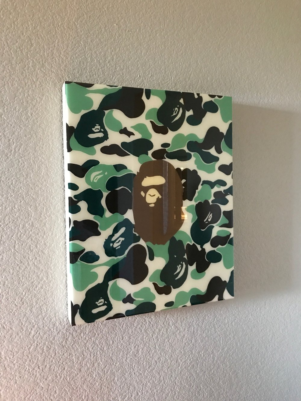"BAPE THEMED PANEL, 16"" X 20""' ACRYLIC ON WOOD PANEL WITH RESIN"