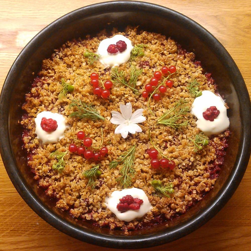 Vill bringebær og rips smuldre kake