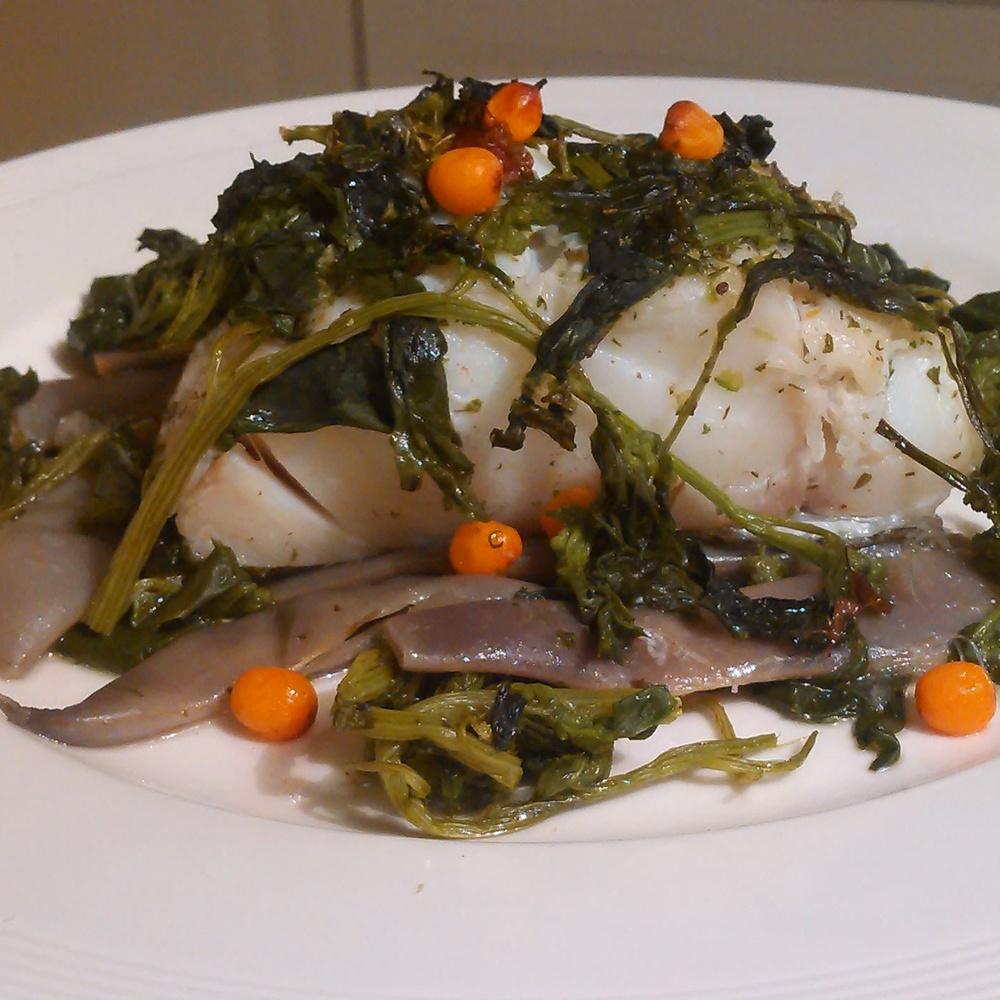 Bønner, torsk,meldestokk,tindved og engkarse-olivenolje stekt i ovnen.