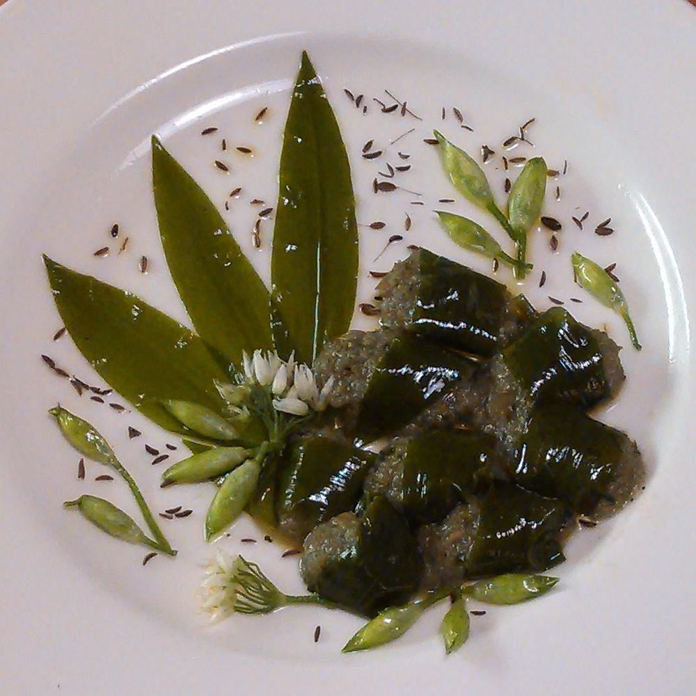 Karve er en fantastisk krydde som vokser vilt! Dagens rett er med karve, ramsløk og brennesle fra fryseren, malt tørket pengeurtfrø og villsalt, tørkede bønner og quinoa. Ramsløkblader konservert i olivenolje har holdt seg veldig fint og gitt nydelig smak til oljen, ramsløkknopper og ramsløkblomster fra fryseren.