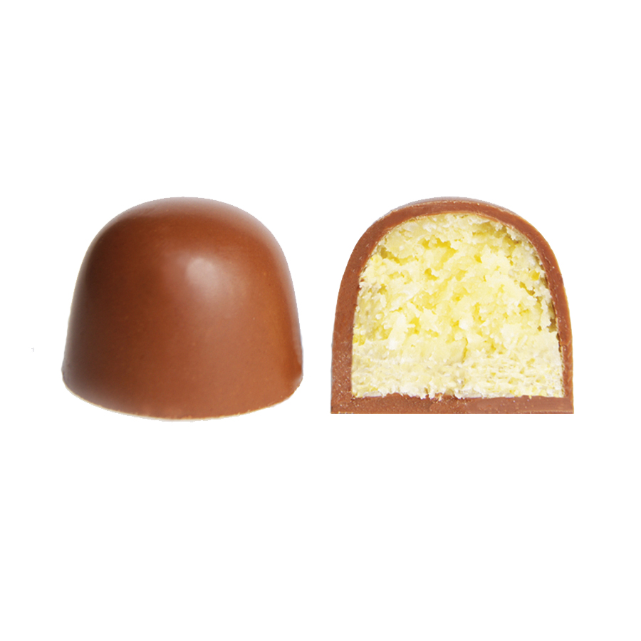 Cocada (Mexican Coconut Treat)   Milk chocolate bonbon filled with sweet candied coconut.