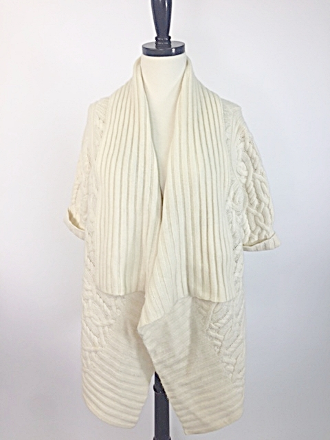 08280cc6e Magaschoni Cream Cashmere Draped Sweater Coat with Rolled Collar & Cuffs