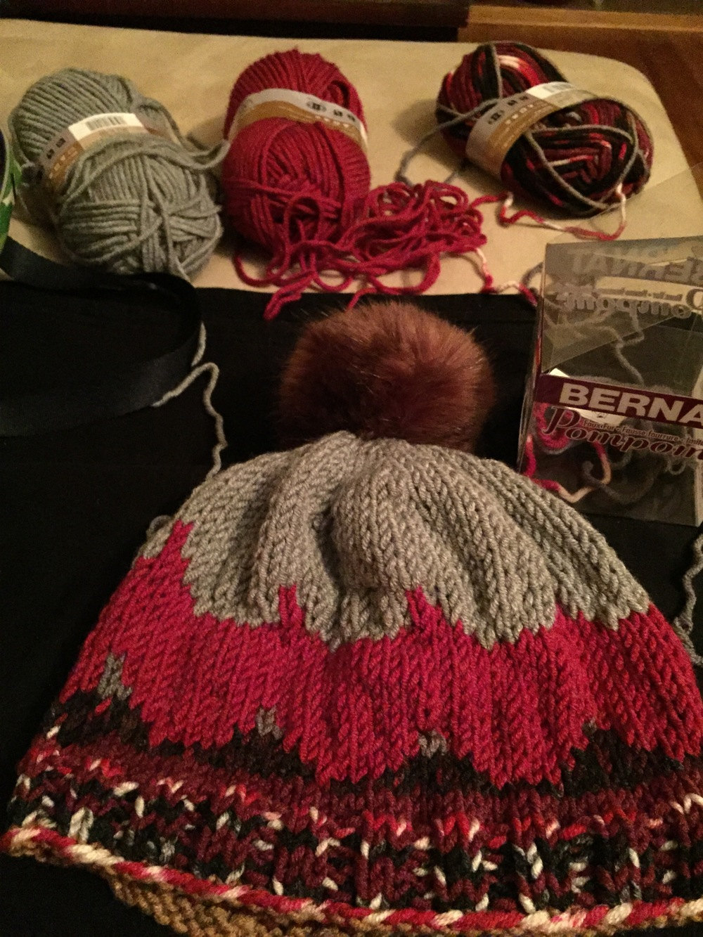 The yarn palette and the hat.