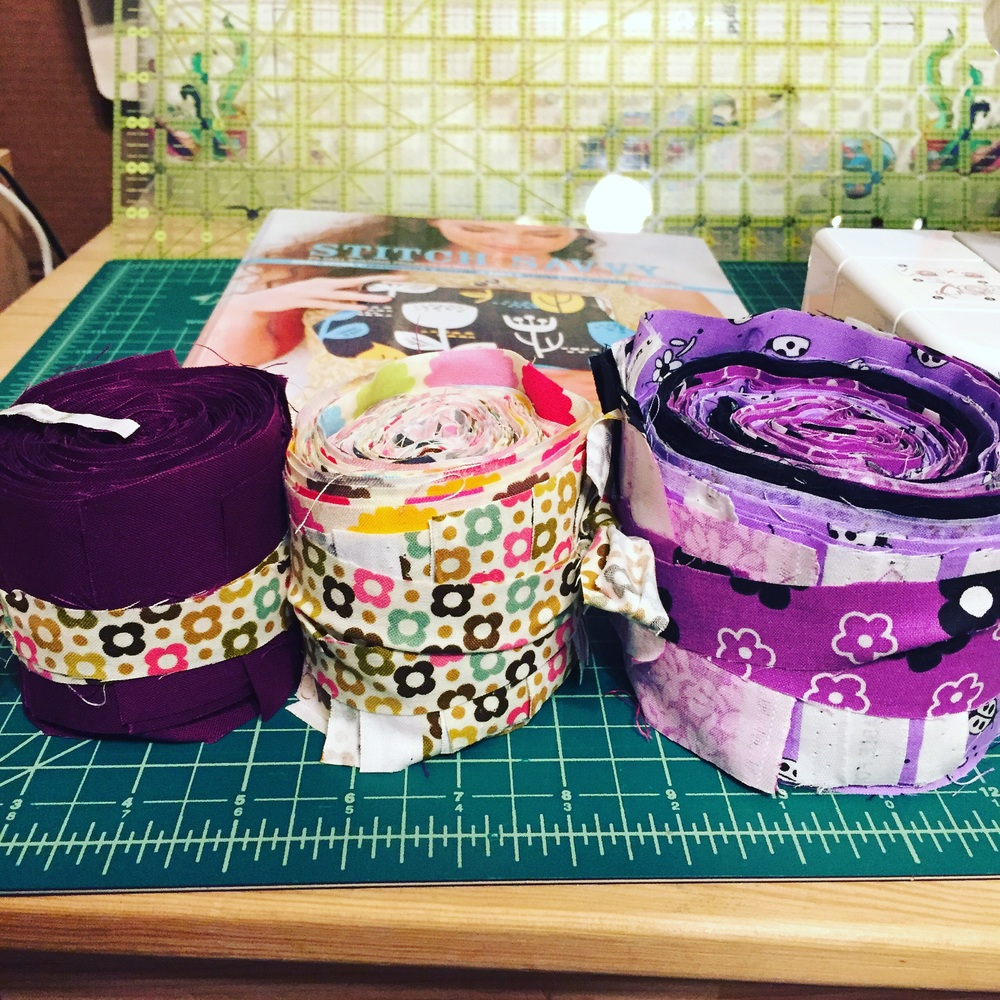 I tied the rolls with scrap strips from cutting.