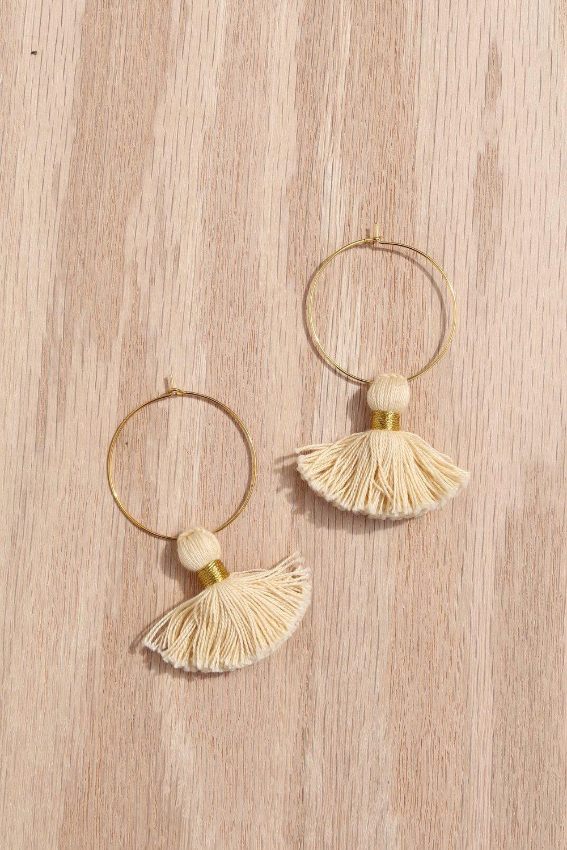 Tassel Hoop Earrings - 24.