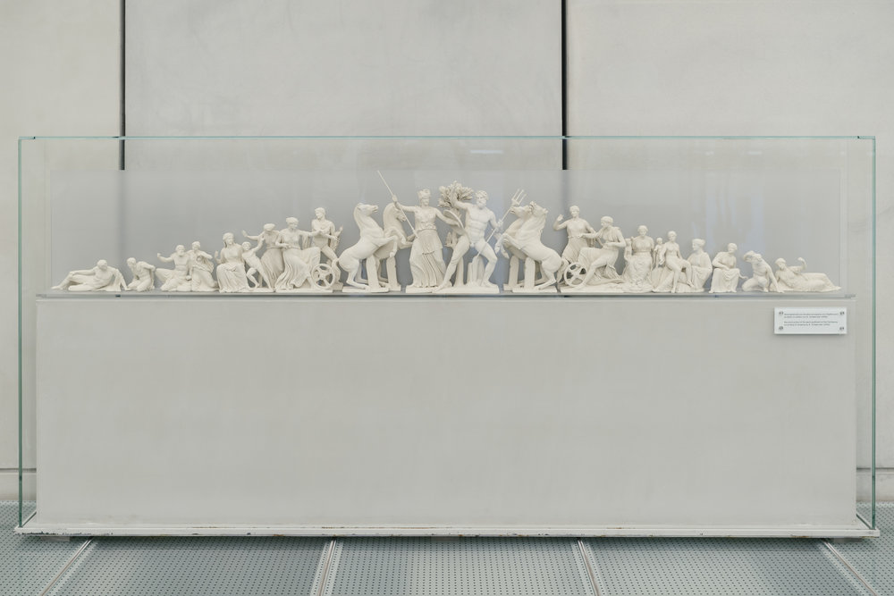 Model of top statues on Parthenon