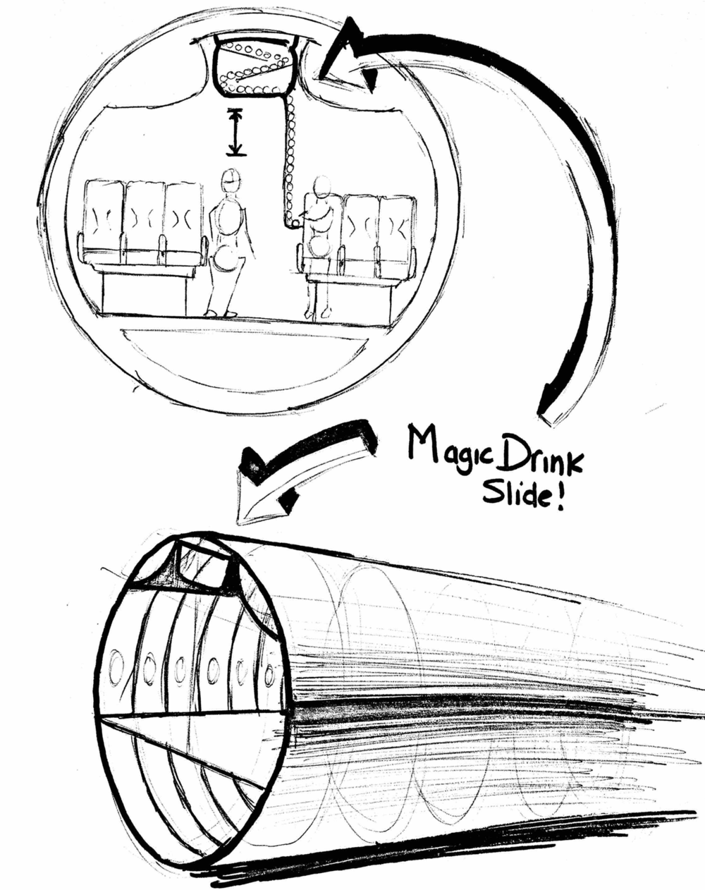 early concept drawing of overhead drink delivery mechanism