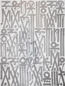 RETNA,  Sensations , enamel, acrylic on canvas 96 x 72 inches, 2012.