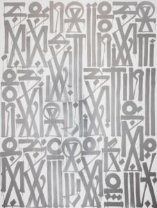 RETNA, Sensations ,enamel, acrylic on canvas 96 x 72 inches, 2012.