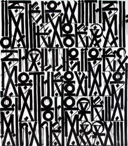 RETNA,  I strike with words that will pierce through your heart , 2012 Enamel, acrylic and crystalina on canvas 96 x 72, 2012.