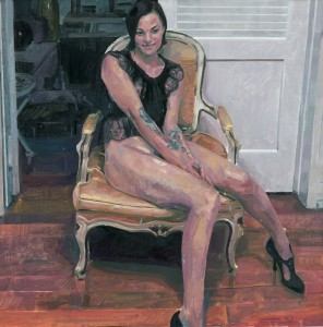 Alberto Mieglo,     Belladonna Over a Yellow Silk Chair , oil on canvas 90 x 90 cm, 2012.