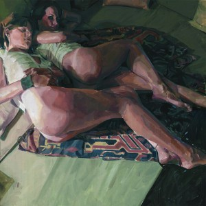"Alberto Mielgo, ""Gemma & Paula over a green sofa,""oil on canvas, 100x100cm, 2012."
