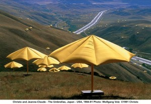 Jeanne-Claude and Christo, 1984-1991, The Umbrellas ,Photo by Wolfgang Volz.