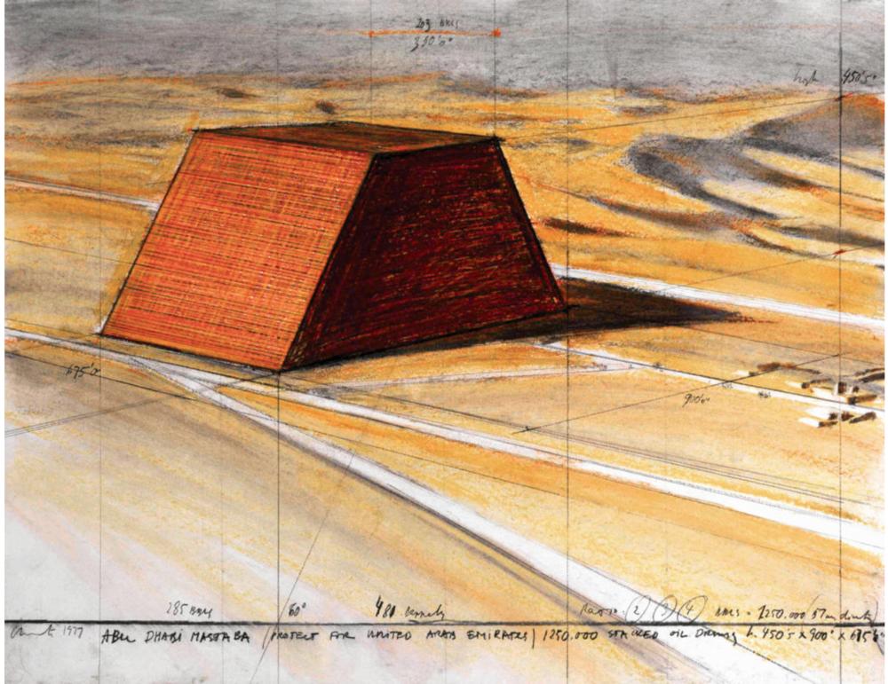 "Christo Abu Dhabi Mastaba (Project for United Arab Emirates) Drawing 1977 22 x 28"" (56 x 71 cm) Pencil, wax crayon, pastel and charcoal Photo: Eeva-Inkeri © 1977 Christo"