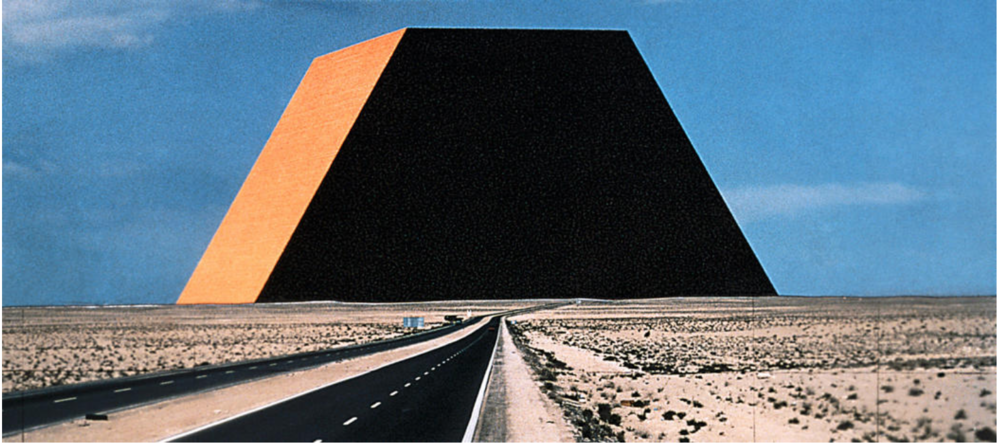 """Christo The Mastaba of Abu Dhabi (Project for United Arab Emirates) Collaged photographs 1979 (Detail) 14 x 22"""" (35.5 x 56 cm) Pencil, charcoal and photographs by Wolfgang Volz Photo: André Grossmann © 1979 Christo"""