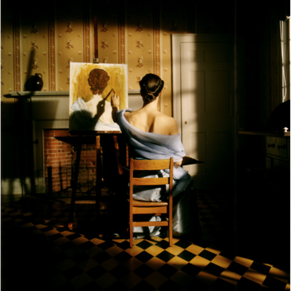 Rodney Smith,  Caroline Painting from Behind, Deerfield, Massachussets  (REF-TIIl-1102-084-05), 2002, Ed. 25. 16 x 20 Archival Pigment Print, 20 x 24 Archival Pigment Print, 34 x 40 Archival, Pigment Print.  Image courtesy of the artist.