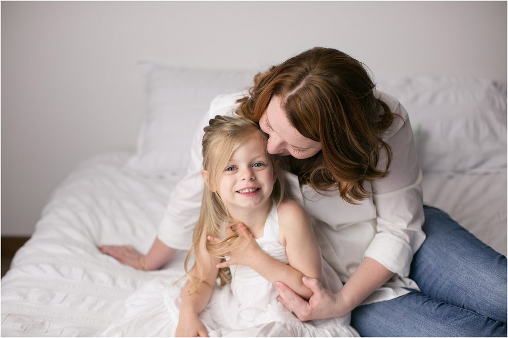 mommy and me, white bed, mini session, mother daughter son