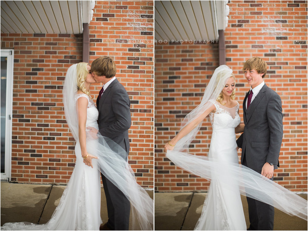 Northwest Iowa Winter Wedding, Blizzard wedding, blush pink, gold accents, Iowa Blizzard