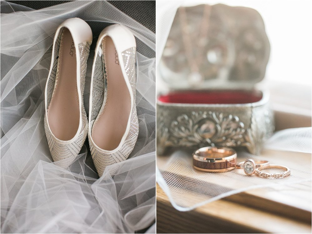 sparkly wedding flats and vintage ring box