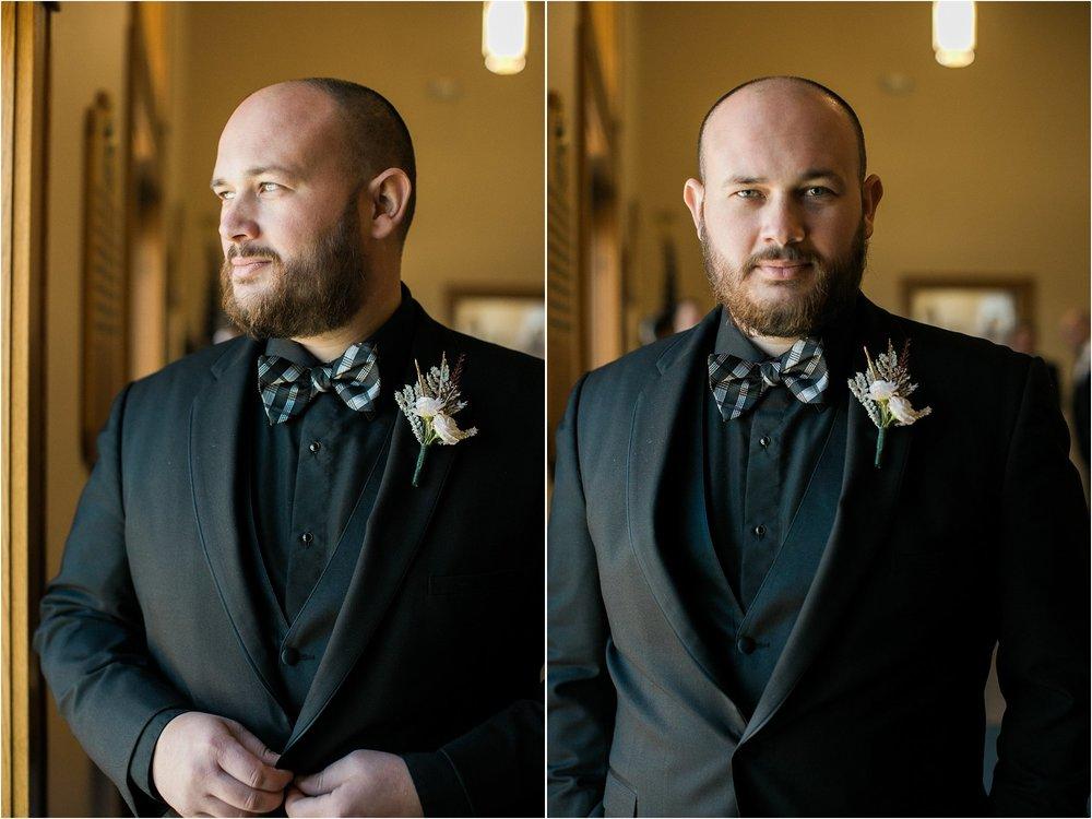 Groom black suit plaid bowtie