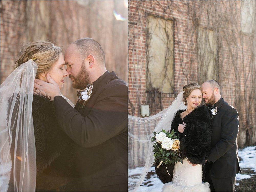 old brick building wedding couple